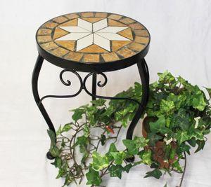 DanDiBo Blumenhocker Merano Mosaik 12014 Blumenständer 27 cm Hocker Rund Beistelltisch