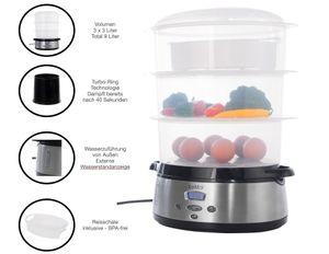 KeMar Kitchenware KFS-700 Dampfgarer   BPA-Frei   Reisschale   3 Dämpfkörbe   9 Liter   Turboring