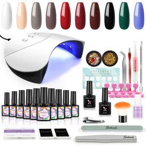 Gel Nagellack Kit mit 36W UV LED Nagellampe, Shelloloh 10 Farben Nagellack Set, Nageldesign Gelnägel Starterset,UV Nagellack Starterset Maniküre-Lack