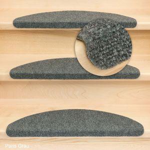 Metzker Stufenmatten Treppenmatten Ramon Halbrund Grau 15 Stück