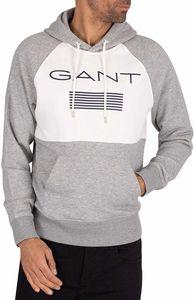 Gant Herren Streifen Pullover Hoodie, Grau XL