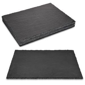 Navaris Schiefer Teller Platzset 6-teilig - 38x28cm Schieferplatten 6x Servierplatte für Sushi Käse - Schieferplatte eckig groß in Anthrazit