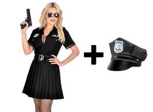 Damen Kostüm - Police Officer KLEID und Gürtel - inkl. Mütze Cop Polizistin, Größe:L