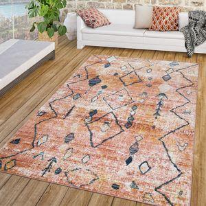 Wohnzimmer Teppich Vintage Kurzflor Modernes Boho Design Rot Creme Gelb Blau, Größe:60x100 cm