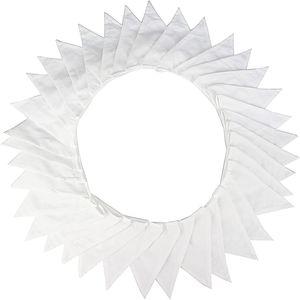 10M Stoff Wimpelkette, Schöne Wimpelgirlande Stoffgirlande Weiß Girlande Wimpel mit 36stk Anhänger Fahnen für Hochzeits Geburtstag Party