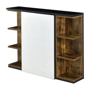 Badezimmer-Wandschrank 64 x 80 x 20 cm Spiegelschrank mit Tür und 3-3 Ablagen Hängeschrank Spanplatte Dunkler Holzton / Schwarz