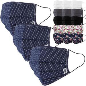 3er Set Stoffmasken von Detex® - aus Baumwolle, mit Nasenbügel, waschbar und Farbwahl, Farbe:blau gepunktet