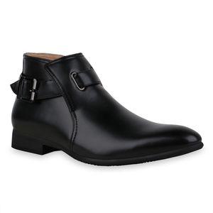Mytrendshoe Herren Klassische Stiefel Schnallen Blockabsatz Schuhe 835131, Farbe: Schwarz, Größe: 41