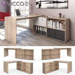 VICCO Eckschreibtisch FLEXPLUS Eiche Sonoma - Computer Bürotisch PC Schreibtisch Winkelschreibtisch