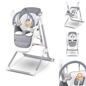 Lionelo Niles 2in1 Hochstuhl Baby und Baby Wippe bis 20 kg Mobile App Steuerung verstellbare Rückenlehne und Tablett Grau