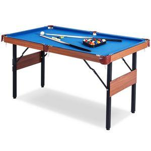 Billardtisch 5ft - 157x80x81cm - BuckShot Dakota - Tischbillard klappbar mit Zubehör - 5 Fuß Pool Billard mit Metallklappbeinen - Braun / Blau