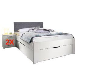 Jugendbett Karlotta 140*200 cm weiß inkl. 2 Nachtkommmoden + 3 Schubkästen Jugendliege Bettliege Bettgestell Jugendzimmer Schlafzimmer