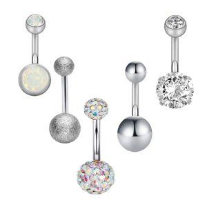 5 Sätze Stahl Zirkon Kristall Strass Barbell Ohrring Piercing Schmuck Silber Kugelform Piercingschmuck 10 x 5 x 1,6 mm