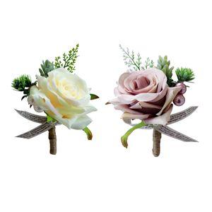 2pcs Ansteckblume Boutonniere Hochzeit Seide Blumen Braut Corsage Rosen Bräutigam Brosche Anstecknadel