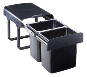 Quellmalz Einbau-Abfallsammler EKKO.20 - 32 Liter (2x16 Liter), schwarz, ab 40er Schrankbreite, mit Vollauszug