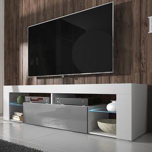 Selsey TV-Schrank BIANKO TV-Lowboard Weiß Matt/Grau Hochglanz 140 cm mit LED-Beleuchtung