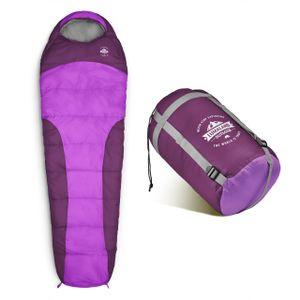 Lumaland Schlafsack 230x80cm Mumienschlafsack, inklusive Packsack, 50 x 25 cm gepackt, lila