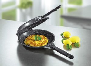 Doppelpfanne  Pfannkuchen Omeletts  Ø 22cm  ohne Fett  Wendepfanne  spülmaschinengeeignet  antihaft  INDUKTION