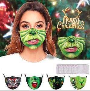 5 Stk Grün Baumwolle Masken + 10 Filter, Wiederverwendbare Gesichtsmasken Weihnachten Mundmaske für Erwachsene