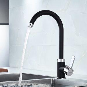 Küchenarmatur schwarz Wasserhahn Küche 360° drehbar Mischbatterie Küche Armatur Hoher Auslauf Spültisch Armatur für Küche Spültischarmaturen schwarz
