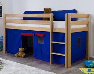 Hochbett ALEX Kinderbett Spielbett Bett Natur Stoffset Blau/Rot, Matratze:ohne