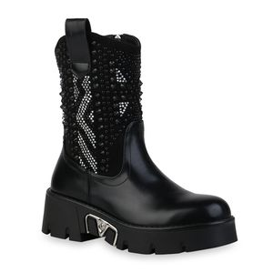 Mytrendshoe Damen Plateau Boots Leicht Gefütterte Stiefeletten Nieten Schuhe 835808, Farbe: Schwarz, Größe: 39