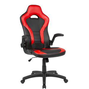 AMSTYLE Gaming-Drehstuhl Bezug Kunstleder Schwarz/Rot Schreibtischstuhl bis 120 kg | Büro-Drehsessel mit beweglichen Armlehnen & hoher Rückenlehne