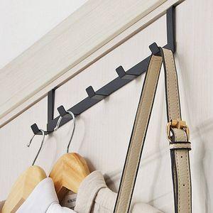 5 Haken über der Tür Haken Metall schwarz Kleiderbügel Kleiderbügel Handtuch Tasche
