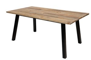 SIT Möbel Ess-Tisch 170 x 90 cm | Tischplatte recycelte Pinie natur | Beine Metall schwarz | B 170 x T 90 x H 76 cm | 13817-01 | Serie OLD PINE