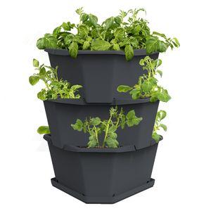 PAUL POTATO Starter 3 Etagen inkl. Untersetzer - Kartoffelturm - stapelbar - Hochbeet/Pflanzgefäß/Blumentopf