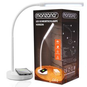 Monzana LED Schreibtischlampe Kabellos induktiv Laden QI Wireless Charging Flexibler Lampenhals dimmbar Touch Tischleuchte Nachttischlampe