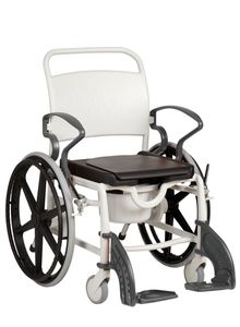 FabaCare Dusch- Toilettenrollstuhl Miami, 24 Zoll Räder, bis 150 kg,  Germany, Premium Toilettenstuhl, Duschstuhl fahrbar, Rollstuhl mit WC Eimer, Grau-Grau