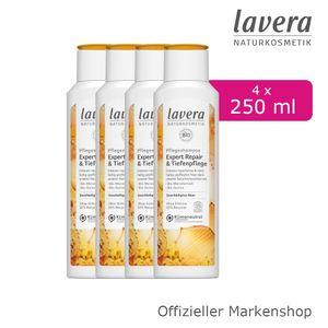 4x250ml lavera Pflegeshampoo Expert Repair & Tiefenpflege Bio-Macadamiaöl Quinoa