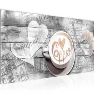 Kaffee Küche BILD 100x40 cm − FOTOGRAFIE AUF VLIES LEINWANDBILD XXL DEKORATION WANDBILDER MODERN KUNSTDRUCK MEHRTEILIG 012812c