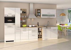 Küchenblock Mailand 340 cm mit Apothekerauszug weiß hochglanz ohne Elektrogeräte