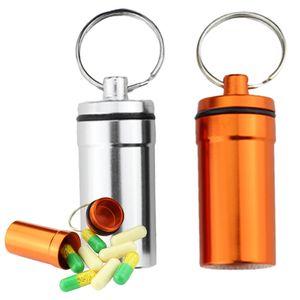 2 Stück Mini Kapsel Outdoor wasserdicht Aufbewahrungsbox Pillendose Aluminium Schlüsselanhänger