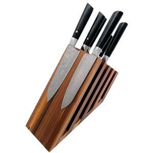 Zayiko hochwertiger magnetischer Messerblock Messerbrett Fächer Nussbaum für bis zu 14 Messer