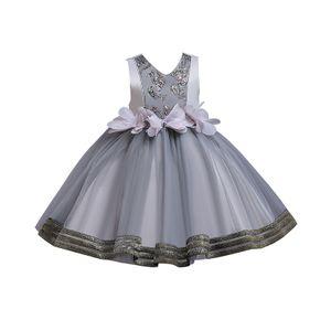 Weibliche Baby-Blumen-Tutu Formale Hochzeit Prinzessin Brautjungfer Prinzessin Kleid,Farbe:Grau,Größe:140(7-8T)