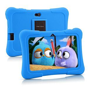 PRITOM K7 7 Zoll Kinder Tablet Android 10 Tablet PC 16 GB ROM Quad Core Tablets WiFi Tablet für Kinder, Hellblau