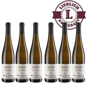 Weißwein Rheinhessen Riesling Weingut Becker Spätlese Barrique lieblich ( 6 x 0,75 l)