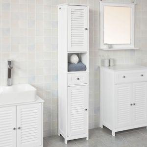 SoBuy® Badezimmer-Hochschrank Badregal Badschrank mit 2 Türen,Weiß,FRG236-W