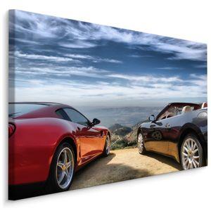 Fabelhafte Canvas LEINWAND BILDER 120x80 cm XXL Kunstdruck Autos Sportwagen Berge
