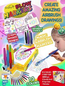Starlyf® Blow Markers - Pustesstifte, Airbrush Stifte, Filzstifte, 13 versch. Farben inkl. 16 wiederverwendbare Schablonen, 40 weiße Blätter und eine Malstation