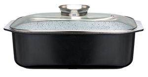GSW Rechteckbräter Ceramica Stone 40 x 26 x11 cm mit Aromaglasdeckel, 8 Liter , Aluminium, Glas, Rechteckbräter mit Aroma-Glasdeckel ø ca. 40 x 26 x H 11,0cm