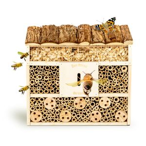 bambuswald© Insektenhotel 29,5 x 10 x 28,5 cm   Bienenhotel / Unterschlupf für Insekten - Insektenhaus Naturmaterialien. Gelebter Natur- & Artenschutz für Zuhause -Beobachtungsmöglichkeit für Kinder: Nützlingshotel Wildbienenhaus Schmetterlingshaus
