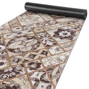Küchenteppich pflegeleicht Läufer waschbar Kacheln Ornament Fliesenoptik Braun 65x160cm
