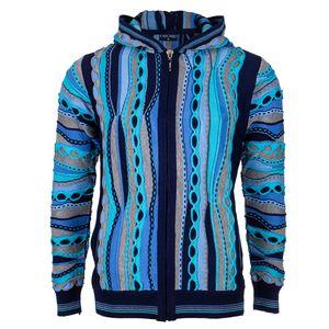 Cascallo Strickjacke Sergio  - Kapuzen Pullover mit Reißverschluss für Herren, Größe: M, Farbe: Bunt, Blau, Dunkelblau, Hellblau, Schwarz, Türkis