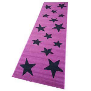 Moderner Läufer Teppich Brücke Teppichläufer Sterne Stars verschiedene Farben ca. 80x250 cm, Größe:80x250 cm, Farbe:violett/schwarz