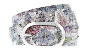Vanzetti Bouquet of Flowers 30mm Metallic Leather Belt W90 Silver Metallic / Multi