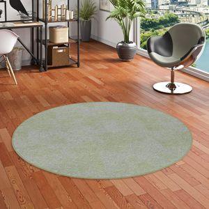 Streifenberber Teppich Lines Grün Meliert Rund, Größe:100 cm Rund